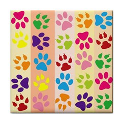 Colorful Animal Paw Prints Background Tile Coasters