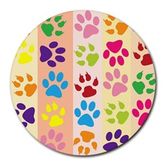Colorful Animal Paw Prints Background Round Mousepads