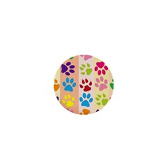 Colorful Animal Paw Prints Background 1  Mini Magnets