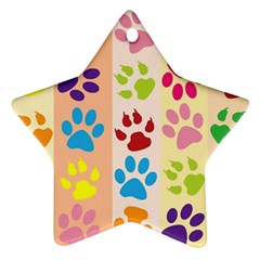 Colorful Animal Paw Prints Background Ornament (star)