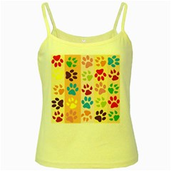 Colorful Animal Paw Prints Background Yellow Spaghetti Tank
