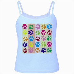 Colorful Animal Paw Prints Background Baby Blue Spaghetti Tank