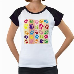 Colorful Animal Paw Prints Background Women s Cap Sleeve T