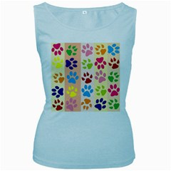 Colorful Animal Paw Prints Background Women s Baby Blue Tank Top