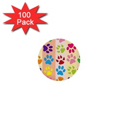 Colorful Animal Paw Prints Background 1  Mini Buttons (100 Pack)