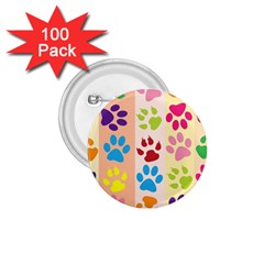 Colorful Animal Paw Prints Background 1.75  Buttons (100 pack)
