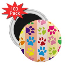 Colorful Animal Paw Prints Background 2 25  Magnets (100 Pack)