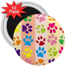 Colorful Animal Paw Prints Background 3  Magnets (10 Pack)
