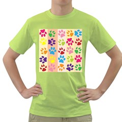 Colorful Animal Paw Prints Background Green T-Shirt
