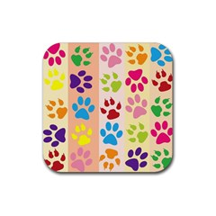 Colorful Animal Paw Prints Background Rubber Square Coaster (4 Pack)