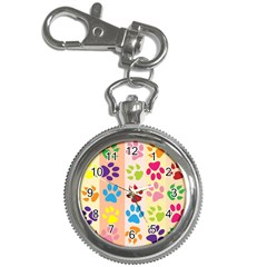 Colorful Animal Paw Prints Background Key Chain Watches