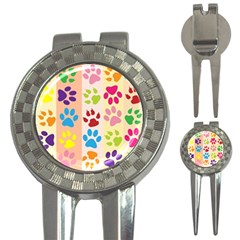 Colorful Animal Paw Prints Background 3 In 1 Golf Divots