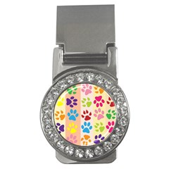 Colorful Animal Paw Prints Background Money Clips (cz)