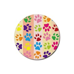 Colorful Animal Paw Prints Background Rubber Coaster (Round)