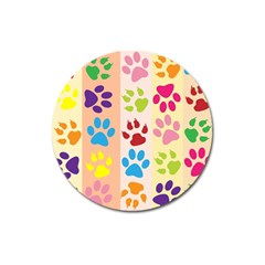 Colorful Animal Paw Prints Background Magnet 3  (Round)