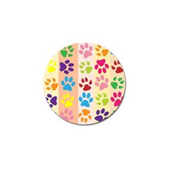 Colorful Animal Paw Prints Background Golf Ball Marker