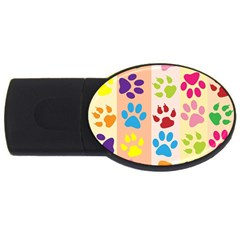 Colorful Animal Paw Prints Background USB Flash Drive Oval (1 GB)