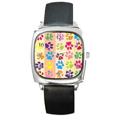 Colorful Animal Paw Prints Background Square Metal Watch