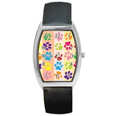Colorful Animal Paw Prints Background Barrel Style Metal Watch