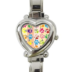 Colorful Animal Paw Prints Background Heart Italian Charm Watch