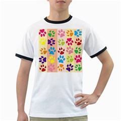 Colorful Animal Paw Prints Background Ringer T-Shirts