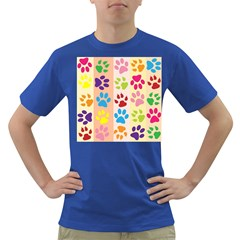 Colorful Animal Paw Prints Background Dark T Shirt