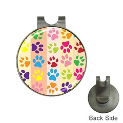 Colorful Animal Paw Prints Background Hat Clips with Golf Markers