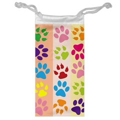 Colorful Animal Paw Prints Background Jewelry Bag