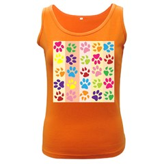 Colorful Animal Paw Prints Background Women s Dark Tank Top