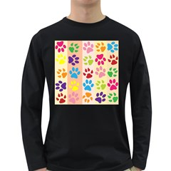 Colorful Animal Paw Prints Background Long Sleeve Dark T-Shirts