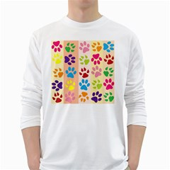 Colorful Animal Paw Prints Background White Long Sleeve T-Shirts