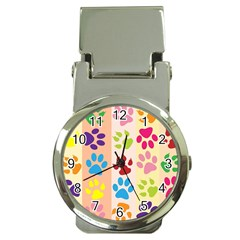 Colorful Animal Paw Prints Background Money Clip Watches