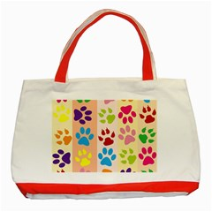 Colorful Animal Paw Prints Background Classic Tote Bag (red)