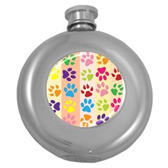 Colorful Animal Paw Prints Background Round Hip Flask (5 oz)