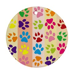 Colorful Animal Paw Prints Background Round Ornament (Two Sides)