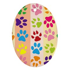 Colorful Animal Paw Prints Background Oval Ornament (two Sides)