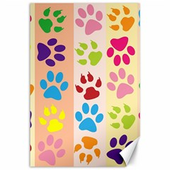 Colorful Animal Paw Prints Background Canvas 24  X 36