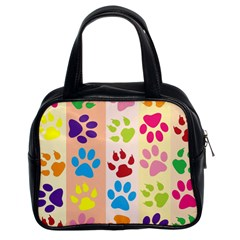 Colorful Animal Paw Prints Background Classic Handbags (2 Sides)