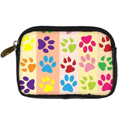 Colorful Animal Paw Prints Background Digital Camera Cases