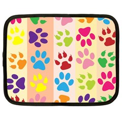 Colorful Animal Paw Prints Background Netbook Case (xl)