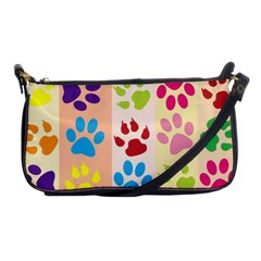 Colorful Animal Paw Prints Background Shoulder Clutch Bags