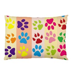 Colorful Animal Paw Prints Background Pillow Case (Two Sides)