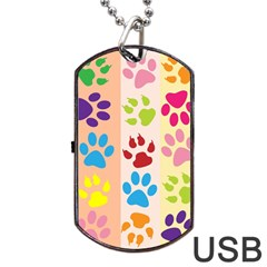 Colorful Animal Paw Prints Background Dog Tag USB Flash (Two Sides)