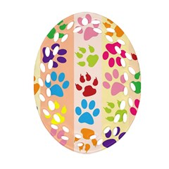 Colorful Animal Paw Prints Background Oval Filigree Ornament (Two Sides)