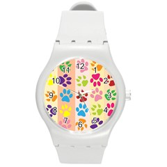 Colorful Animal Paw Prints Background Round Plastic Sport Watch (M)