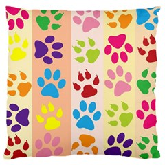 Colorful Animal Paw Prints Background Large Cushion Case (Two Sides)