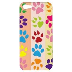 Colorful Animal Paw Prints Background Apple iPhone 5 Hardshell Case