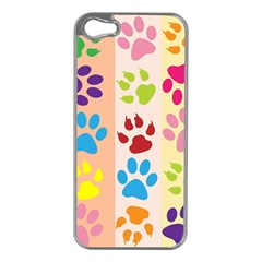 Colorful Animal Paw Prints Background Apple iPhone 5 Case (Silver)