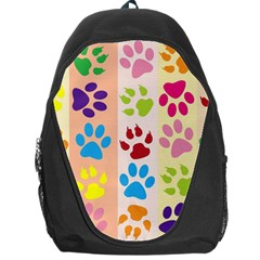 Colorful Animal Paw Prints Background Backpack Bag