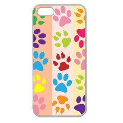 Colorful Animal Paw Prints Background Apple Seamless iPhone 5 Case (Clear)